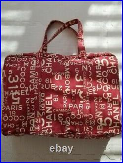 100% Auth Chanel Rue Cambon Logo Travel Large Tote Bag Laptop Daily Vintage