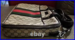 100% Auth Gucci Classic Vintage Monogram Laptop Carrying Bag Preowned Brown