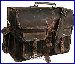 18 Large Bag Goat Leather laptop bag computer case shoulder bag for men & women