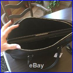 $378 COACH LAPTOP BAG WOMAN'S LEATHER CROSSBODY Black With Gold NEW F39022