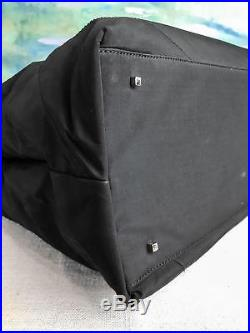 $860 SALVATORE FERRAGAMO Black Nylon Tote Laptop Bag Silver Women's SALE