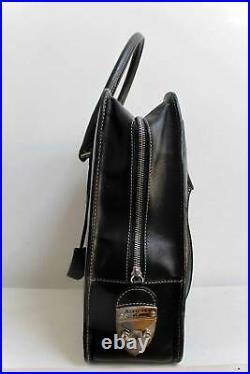 Aspinal of London Leather Satchel Laptop Bag Briefcase Style Black Large