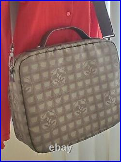 Auth. Chanel Travel Line Green Jacquard Nylon Xlarge Laptop Travel Carry On Bag