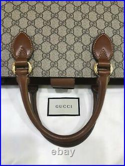 Auth GUCCI Monogram Brown Leather Briefcase Laptop Professional Shoulder Bag