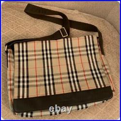 Authentic BURBERRY Shimmer Nova Check Laptop Messenger Large Bag