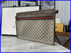 Authentic Gucci GG Web Oversized Clutch/Pouch/laptop/portfolio Rare