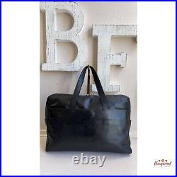 Authentic MCM Black Calfskin Leather Laptop/Document Medium Handbag