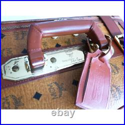 Authentic MCM Cognac Visetos Leather Vintage Boston Bag Brown