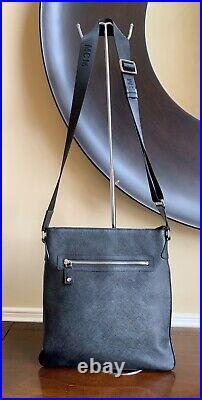 Authentic MCM Vintage Black Saffiano Leather Nylon Strap Messenger/Laptop Bag