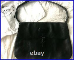 Authentic Prada Black Leather & Leather Interior Shoulder Handbag
