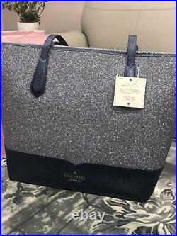 BNWT Kate Spade Large Lola Glitter Tote bag Navy handbag Leather laptop purse