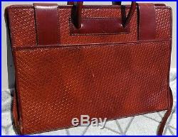BOSCA Basket Weave Pattern BRIEFCASE Women's Laptop Shoulder Bag BROWN Leather