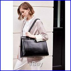 BOSTANTEN Leather Briefcase for Women Vintage 15.6 inch Laptop Bag Black
