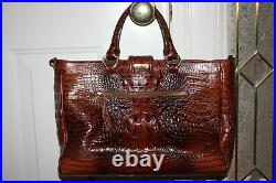 BRAHMIN MEGAN Laptop Brief Case Large Bag Pecan Brown Croc Leather Barely Used