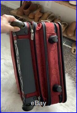 BRIGHTON Computer Weekender Rolling Bag Weekender Luggage Laptop Expandable Ruby
