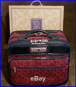 BRIGHTON Red Black Laptop Briefcase Rolling Bag Weekender Luggage Bag- VERY NICE