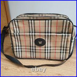 BURBERRY Vintage 80s Satchel Bag Laptop Briefcase Leather Check Canvas Beige
