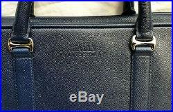 Bally Switzerland Navy Blue Safiano Leather Womens Satchel / Laptop Bag