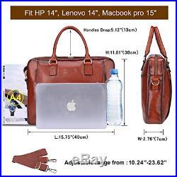 Banuce Full Grains Italian Leather Womens Briefcase 14 Laptop Bag Attache Case