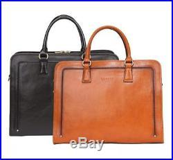 Banuce Full Grains Leather Briefcase Women Messenger Satchel Bag 14 Laptop Black