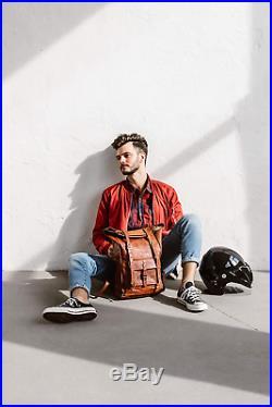 Berliner Bags Leeds M Leather Backpack Laptop Rucksack Men Women Retro Brown