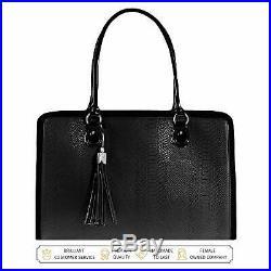 BfB 17 Laptop Bag for Women Handmade Designer Messenger Computer Bag Black (K)