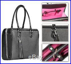 BfB Briefcase Computer Bag Handmade 17 Inch Laptop Bag for Women Charcoal Gr