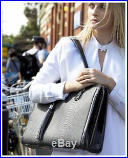 BfB Briefcase Computer Bag Handmade 17 Inch Laptop for Women Charcoal Grey