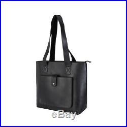 Black Leather Mens Women 14''Laptop Messenger Shoulder Bag Shopping Outdoor Tote