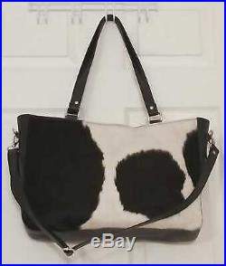 Black Leather Messenger Shoulder Bag Men Women Cowhide Satchel Laptop Purse