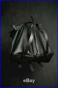 Black Leather bag Mens women Briefcase Laptop Shoulder Satchel backpack