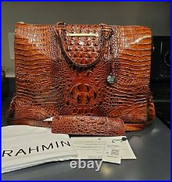 Brahmin BUSINESS TOTE Laptop Bag PECAN MELBOURNE Leather Preowned EXCELLENT