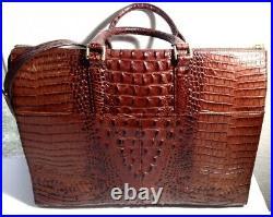 Brahmin Business Tote Briefcase Pecan Large Worktravel Laptop Crocleather Bag