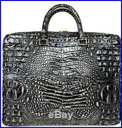 Brahmin Laptop Case Dusk Black Silver Gold Croc Leather Work Business Bag