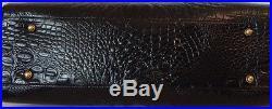 Brahmin Megan Business Tech Laptop Brief Case Work Bag Black Croc Leather