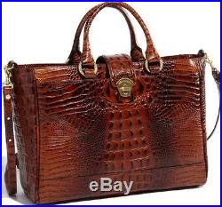 Brahmin Megan Laptop Tech Business Brief Case Bag Pecan Brown Croc Leather