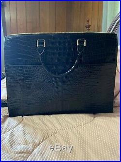 Brahmin women's black croco leather laptop bag 16L x 12H x 5W pre-owned