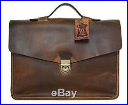Briefcase Genuine Leather Satchel for Men Women Laptop Bag 15.6-inch Large by