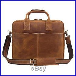 Briefcase Leather Lawyer Womens Mens Messenger Bag Attache Case Wallet Laptop