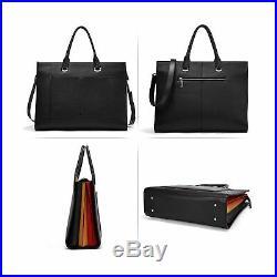 Briefcase for Women Leather Slim 15.6 Inch Laptop Business Shoulder Bag Black