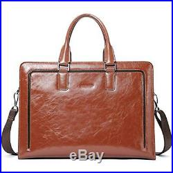 Briefcases Women Genuine Leather Tote Business Vintage Handbag 15.6 Laptop Bag