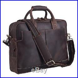 Brown Leather Laptop Computer Briefcase Messenger Bag Wallet Case Mens Womens
