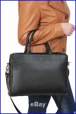 Business Womens Black REAL Leather Briefcase Work Office Laptop Shoulder Bag NEW