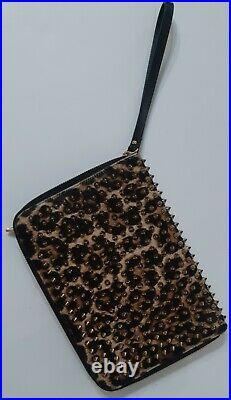CHRISTIAN LOUBOUTIN Calf Hair Leopard Print Spiked IPad Case
