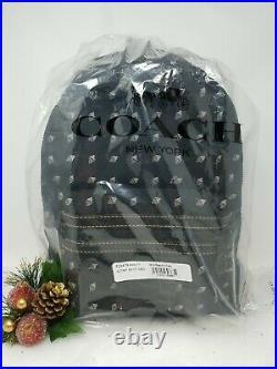 COACH Academy Backpack Travel Laptop Bag Diamond Print Black Cordura 29479