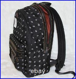 COACH Academy Backpack Travel Laptop Bag Dot Diamond Print Black Cordura NWT