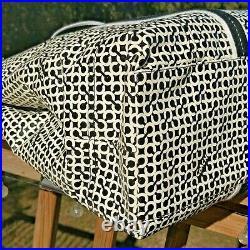 COACH Black & White Sig C OP ART PENELOPE Weekender Tote Laptop Beach Bag #15008