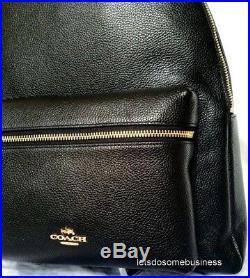 COACH Charlie Leather Backpack Large Laptop Tablet Book Bag Black F38288 F29004