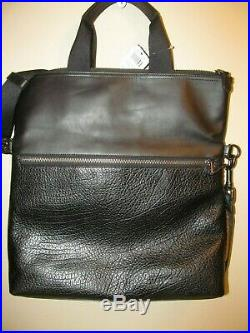 COACH F104411241 Black Embossed Calf Leather Fold Over Laptop Travel Bag, NWT