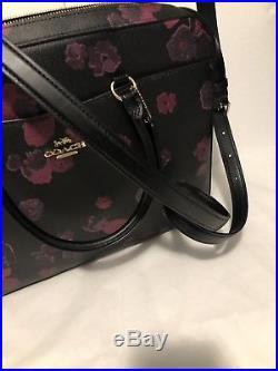 COACH F38985 Womens LAPTOP BAG Crossbody Handbag FLORAL Black Leather Pink New